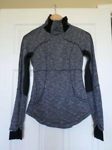 Lululemon womens size 4 Baserunner Heathered gray thumb hole 1/2 zip jacket