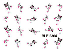 Pink Butterfly Flowers Scroll Water Transfers Nail Art Sticker Decals Manicure