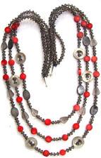 28x rote Koralle Rauchquarz Perlmutt Hämatit 925 Silber Kette 3reihig lang RED