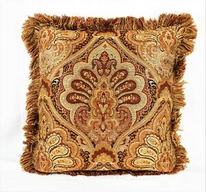 PAISLEY Rust Brown Throw Pillow Sofa Chair Cushion w/ Fringe and Feather Filling