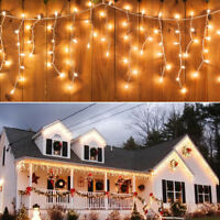Warm Icicle Hanging LED Fairy Windows Curtain Lights Christmas Party Decors 110V