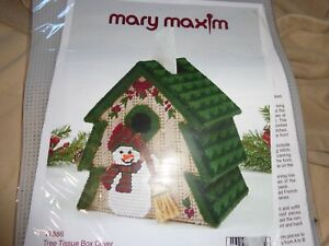 MARY MAXIM - TREE TISSUE BOX COVER- SNOWMAN- PLASTIC CANVAS KIT- NIP