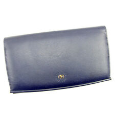 Valentino Wallet Purse Long Wallet Navy Gold Woman Authentic Used T989