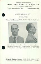 Nottingham Police 1958. John Carl Seymour. Gerald Stephen Hartley.  QR322