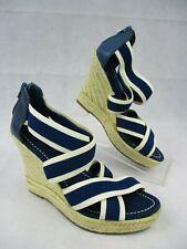 GAP UK Size 5 Sandals Blue White Espadrilles Wedge Heel Leather Textile EUR 38
