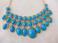 Statement Necklace Free Shipping Blue Runway Egyptian Revival Gold