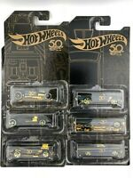 2018 Hot Wheels 50th Anniversary Black and Gold Complete Set of 6