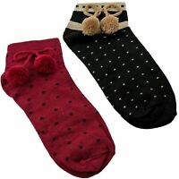 New Ladies Girls Pom Pom Socks Cotton Rich Size UK 4 - 6 Polka Dot Spanish Style