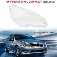 Right Side Clear Headlight Cover Lens For Mercedes Benz C Class W204 2011-2015