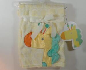 New Little Beginnings Soft Yellow Jungle Blanket w/ Sensory Crinkle Mink Giraffe