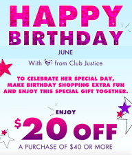 JUSTICE CLOTHING COUPON * $20 OFF $40 CODE PROMO * EXP 7/30/20