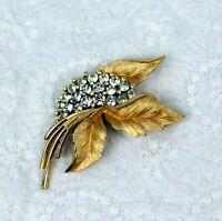 Vintage Crown Trifari Rhinestone Gold Tone Brooch Flower Leaf Design