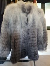 BNWT IMPRESIONANTE * * para Mujer Abrigo de piel de zorro real plata zorro talla 16 Grande Rrp £ 2500