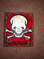 100% ORIGINAL - Porcelain Sign 1939-1945, WWII, Danger, Skull & Crossbones
