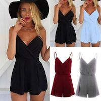 Womens Mini Playsuit Jumpsuit Romper Holiday Summer Casual Beach Shorts Sundress