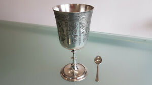 VICTORIAN GOBLET, LEE & WIGFULL SHEFFIELD SILVER PLATED & EMBOSSED GOBLET.