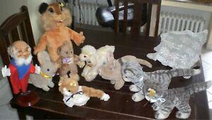 NICE OLD LOT of ) STEIFF (ANIMALS TEDDY BEAR HAND PUPPET)