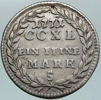 1771 AUSTRIA Salzburg SIGISMUND IV Antique Silver 5 Kreuzer (Mark) Coin i87521