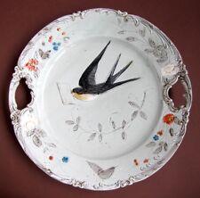 Ancien Plat Oiseau Hirondelle Message Amour Papillon en Barbotine 1900