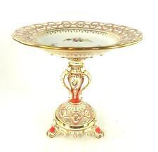 Antiguo Inglés Porcelana grandes tazza Compota perforado reticulado Flores Minton