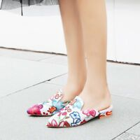 Womens Pointed Toe Low Heel Mules Embroidery Floral Casual Sandals Shoes Slip On