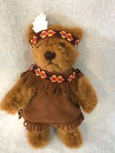 "1994 Dakin 8"" Native American Indian Jointed Teddy Bear Stuffed Plush Toy"
