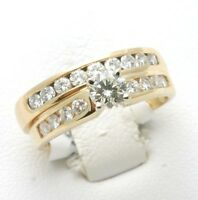 Vintage 14k yellow gold DIAMOND Wedding Set Ring 1.5 carat Round Engagement Ring