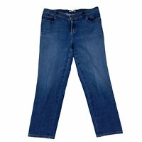 Eileen Fisher Women's Size 10 Stretch Denim Jeans Cropped Belt Loops Removed *