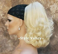 Blonde Ponytail Hairpiece Curly Jaw Clip in on Light Blond Extension Hair Piece
