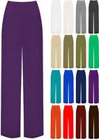 Womens Plain Palazzo Wide Leg Flared Ladies Trousers Pants Plus Size 8-26