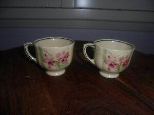 """2 x Royal Doulton """"Orchids"""" Demitasse Coffee Cups c.1930's"""
