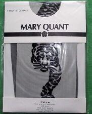 VINTAGE C 1970 Mary Quant Velato Nero Lucido Calze Con BLACK TIGER motiff