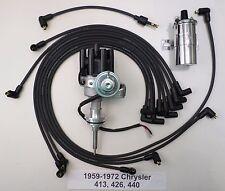 CHRYSLER 440 59-72 BLACK Small Female HEI Distributor+Chrome Coil+Spark PlugWire