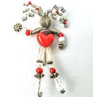 Vintage Moonbabies Moonbaby Stickpin Pin Brooch Silver White Red Heart Love Bead