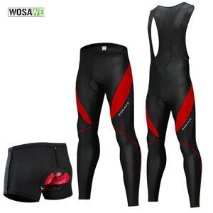 Men's Cycling Bib Tights Gel Padded Pants Bike Knee Fleece Sport Trousers Shorts
