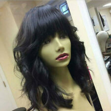14'' Body Wave Human Hair Full Lace Wigs With Bangs Brazilian Lace Front Wigs US
