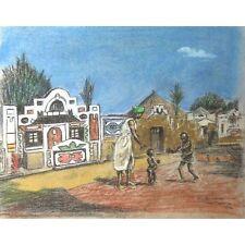 Illustrative Pastel Bantu Village Landscape Pretoria South Africa Orig Painting