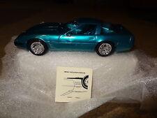 ERTL 1996 96 Chevrolet Corvette coupe promo. Bright Aqua Metallic w/ box & decal