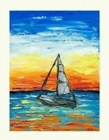 Sailboat Sea Sunset Tropical Oil Painting Wall Art Waves Vivid Impasto Regatta