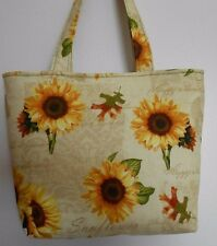 "Handmade Sunflower Oak Leaves ""Happy Thanksgiving"" Tote Purse Bag"