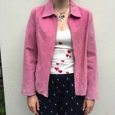 Real Suede Pink Zip Up Jacket Size 16