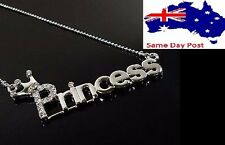 Statement Oversized Princess Chunky Letter Chain Choker Necklace Pendant Silver