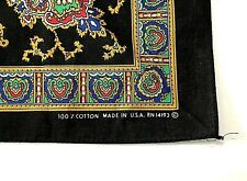 VTG. Black multi-color Floral Paisley graphic Bandana USA handkerchief hankie