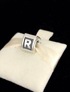 Pandora Letter R Block Alphabet Initial Charm Silver S925 ALE + Box 790323R