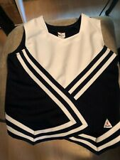 """Blank Navy Blue & White Chasse' Cheerleading Uniform Top 34"""" Bust"""