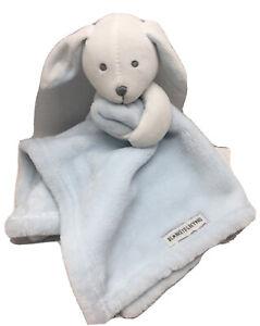 "Blankets&Beyond Puppy Security Blanket Blue&White Cuddle 16""Plush Lovey Nursery"