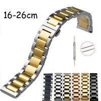 16-26mm Stainless Steel Metal Link Band Bracelet Belt Watch Strap with Tool Pins