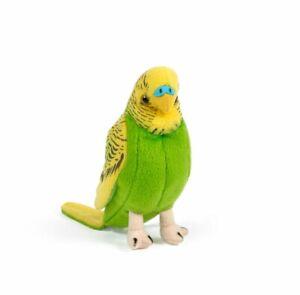 LIVING NATURE BUDGERIGAR PLUSH TOY BIRD WITH SOUND 12CM GREEN STUFFED ANIMAL