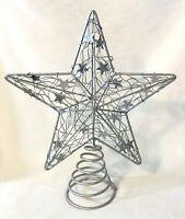 Spring Base Silvery Glitter Metal Star Christmas Tree Topper