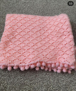 Pink Baby Girl Pom Pom Knitted Blanket